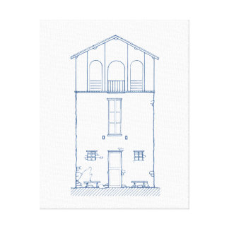 Tiny House Blue and White Blueprint Drawing 11x14 Canvas Print