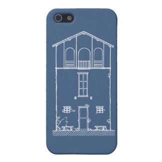 Tiny House Blue & White Blueprint Style Drawing iPhone 5 Case