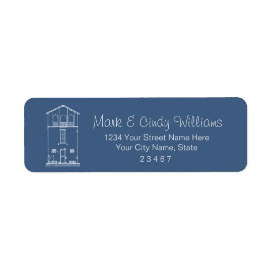Tiny House Blueprint Drawing Blue and White Return Address Label
