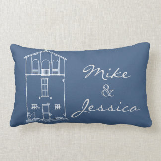 Tiny House Blueprint Drawing Personalized Blue Lumbar Pillow