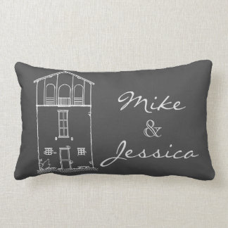 Tiny House Chalkboard Drawing Personalized Grey Lumbar Cushion