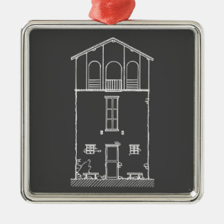 Tiny House Grey and White Chalkboard Drawing Silver-Colored Square Decoration