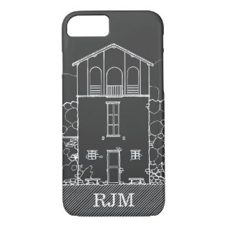 Tiny House Grey Chalkboard Drawing Personalized iPhone 8/7 Case