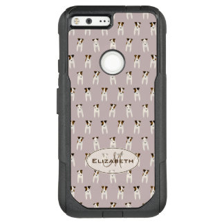 tiny jack russell terriers pattern monogram lilac OtterBox commuter google pixel XL case