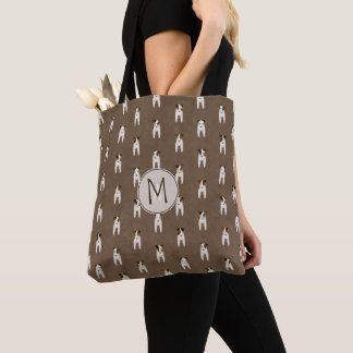 Tiny Jack Russell Terriers pattern tote w monogram