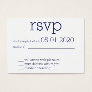 Tiny Monogrammed Navy Blue Modern Wedding RSVP