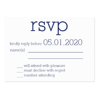 Tiny Monogrammed Navy Blue Modern Wedding RSVP Pack Of Chubby Business Cards