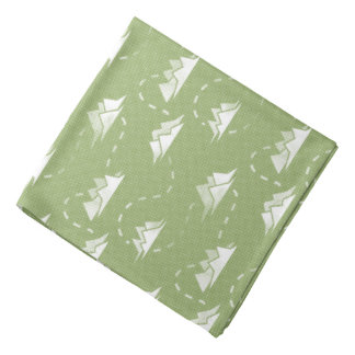 Tiny Mountains Trail GREEN-WHITE Bandana