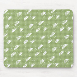 Tiny Mountains Trail GREEN-WHITE Pattern Mouse Pad