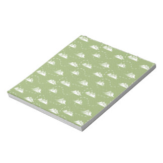 Tiny Mountains Trail GREEN-WHITE Pattern Notepad