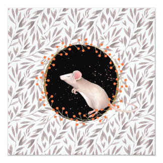 Tiny mouse in autumn harvest field card