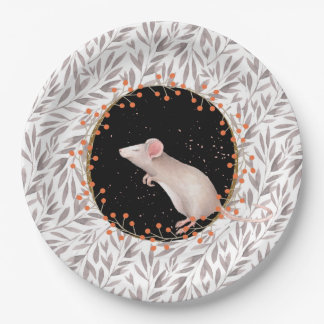 Tiny mouse in autumn harvest field paper plate