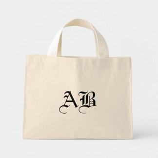 Tiny natural/black Tote Monogram Template Mini Tote Bag