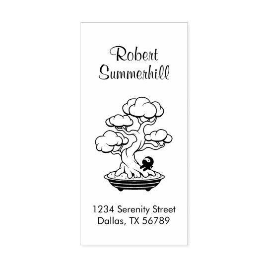 Tiny Ninja and Bonsai Tree Address Rubber Stamp