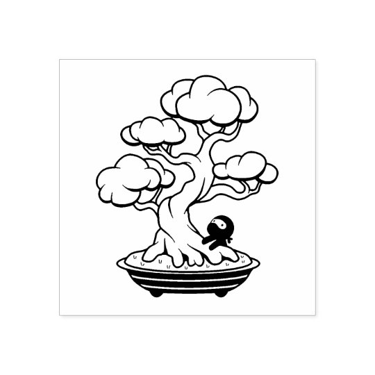 Tiny Ninja and Bonsai Tree Rubber Stamp