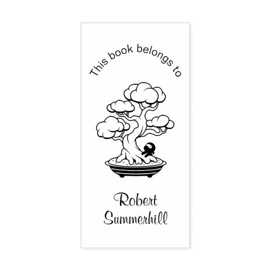 Tiny Ninja Bonsai Tree Bookplate Rubber Stamp