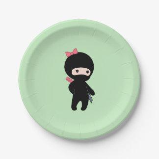 Tiny Ninja Girl on Green Paper Plate