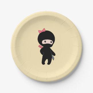 Tiny Ninja Girl on Yellow Paper Plate