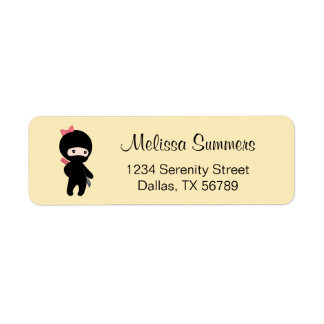 Tiny Ninja Girl on Yellow Return Address Label