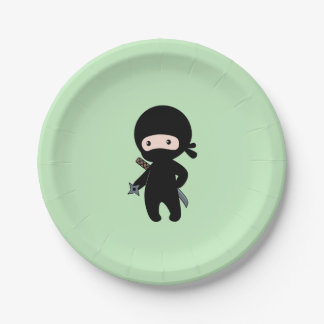 Tiny Ninja Holding Throwing Star on Green Paper Plate