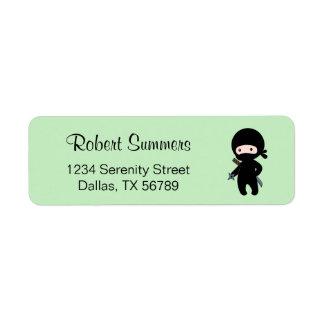 Tiny Ninja Holding Throwing Star on Green Return Address Label