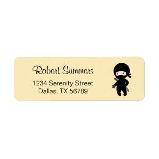 Tiny Ninja Holding Throwing Star on Yellow Return Address Label