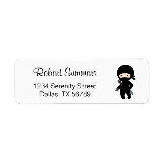 Tiny Ninja Holding Throwing Star Return Address Label