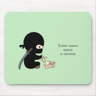 Tiny Ninja Making Origami Paper Throwing Star Mouse Pad