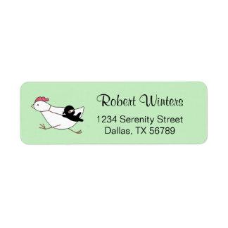 Tiny Ninja Taming Running Chicken on Green Return Address Label