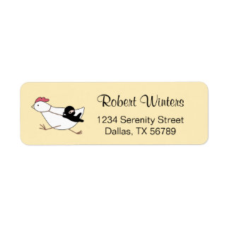 Tiny Ninja Taming Running Chicken on Yellow Return Address Label
