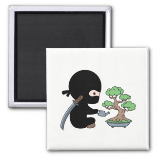 Tiny Ninja Watering Bonsai Tree Magnet