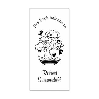 Tiny Ninjas in Bonsai Tree Bookplate Rubber Stamp
