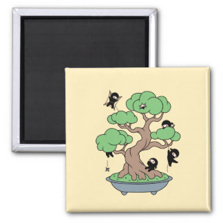 Tiny Ninjas in Bonsai Tree on Yellow Magnet
