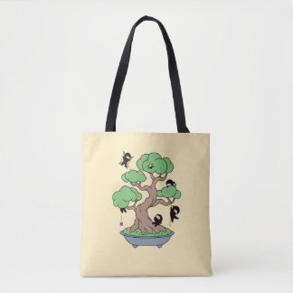 Tiny Ninjas in Bonsai Tree on Yellow Tote Bag