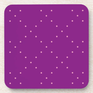 Tiny Pink Polka Dots in Diamond Grid On Purple Coasters