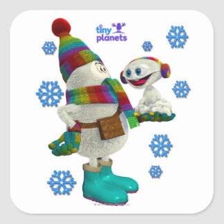 Tiny Planets Snow Problem Square Sticker