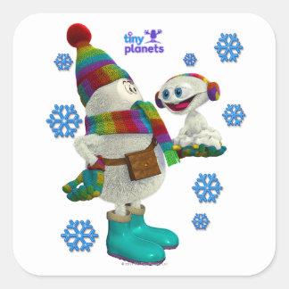 Tiny Planets Snow Problem Square Sticker