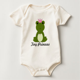 Tiny Princess Baby Girl Pink Frog and Crown Baby Bodysuit