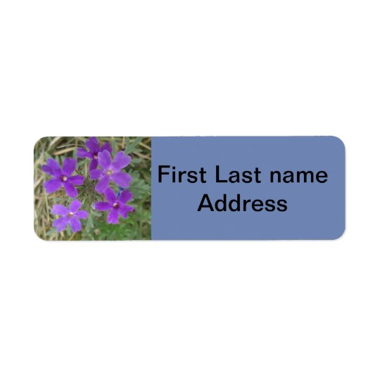 Tiny Purple Zinnia Blue Background Address Label