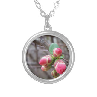 tiny red buds silver plated necklace