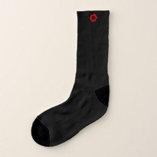 Tiny Red Sunflower accent Black Socks
