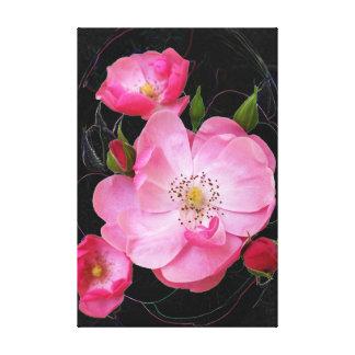 tiny rosebud opens canvas print