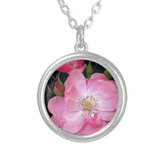 tiny rosebud opens silver plated necklace