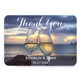 Tiny Round Sunset On Beach Wedding Thank You Card 9 Cm X 13 Cm Invitation Card