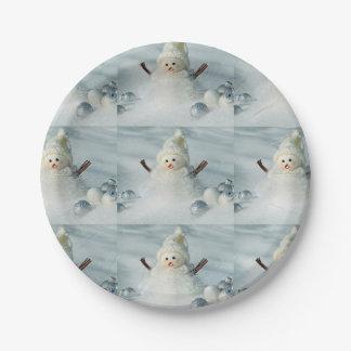 Tiny Snowman Paper Plate
