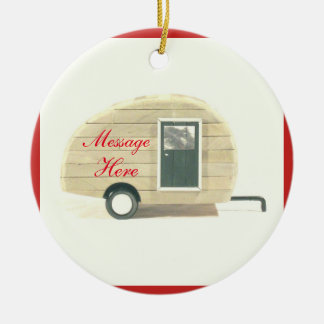 Tiny teardrop caravan casa ceramic ornament