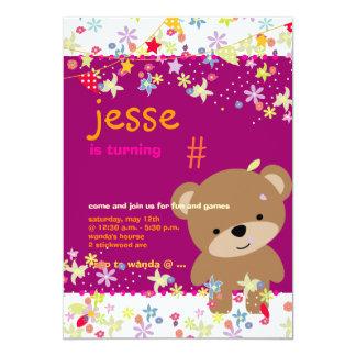 Tiny Teddy Bear Personalized Party 13 Cm X 18 Cm Invitation Card
