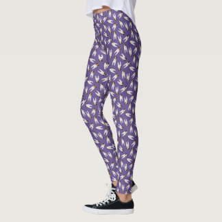 Tiny terriers Jack Russell dogs pattern purple Leggings