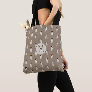 Tiny terriers Jack Russell pattern tote w monogram