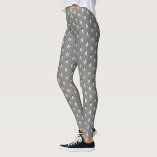 Tiny terriers Jack Russells pattern gray Leggings